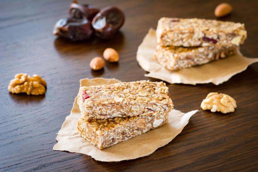 Homemade granola bars and nuts