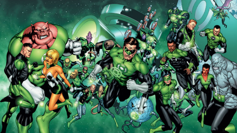 Green Lantern Corps in space