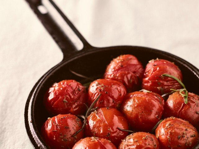 Close up of grilled cherry tomatoes