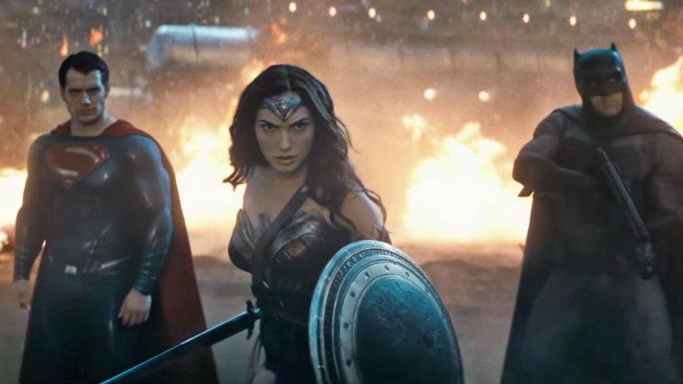 Henry Cavill, Gal Gadot and Ben Affleck in Batman v Superman Dawn of Justice