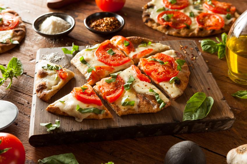 Margarita Flatbread Pizza on a wooden board