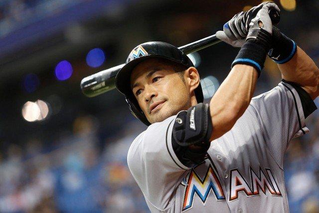 Ichiro Suzuki swinging a bat.