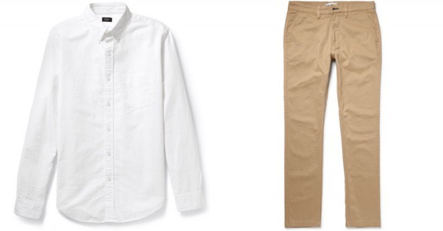 J.Crew oxford and NN07 chinos at Mr. Porter
