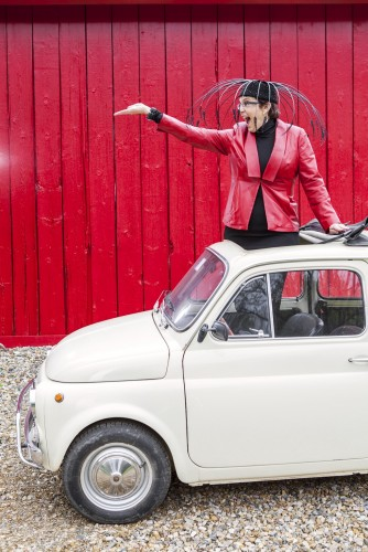 Fiat 500, Song Millinery hat, and Jean Jennings