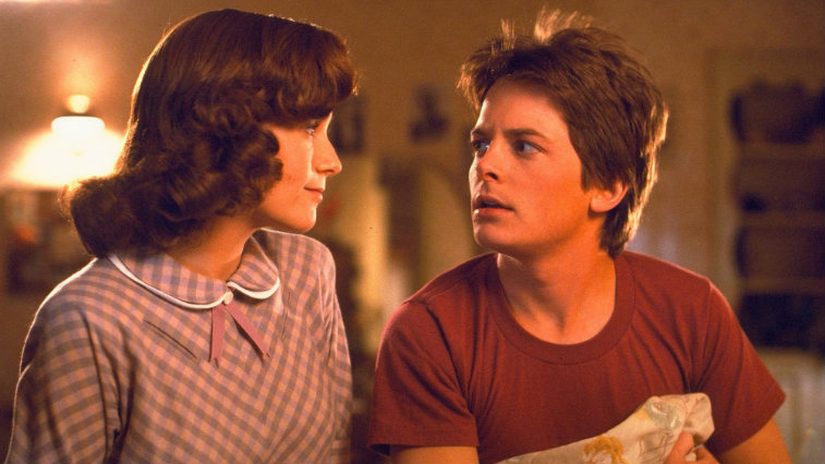 Lea Thompson looks at Michael J. Fox in Back to the Future