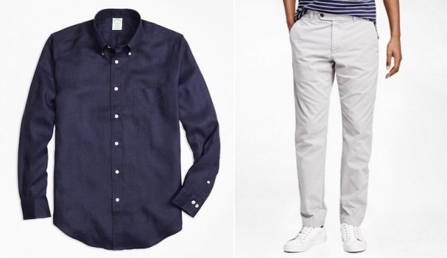 Linen shirt and chinos from Brooks Brothers