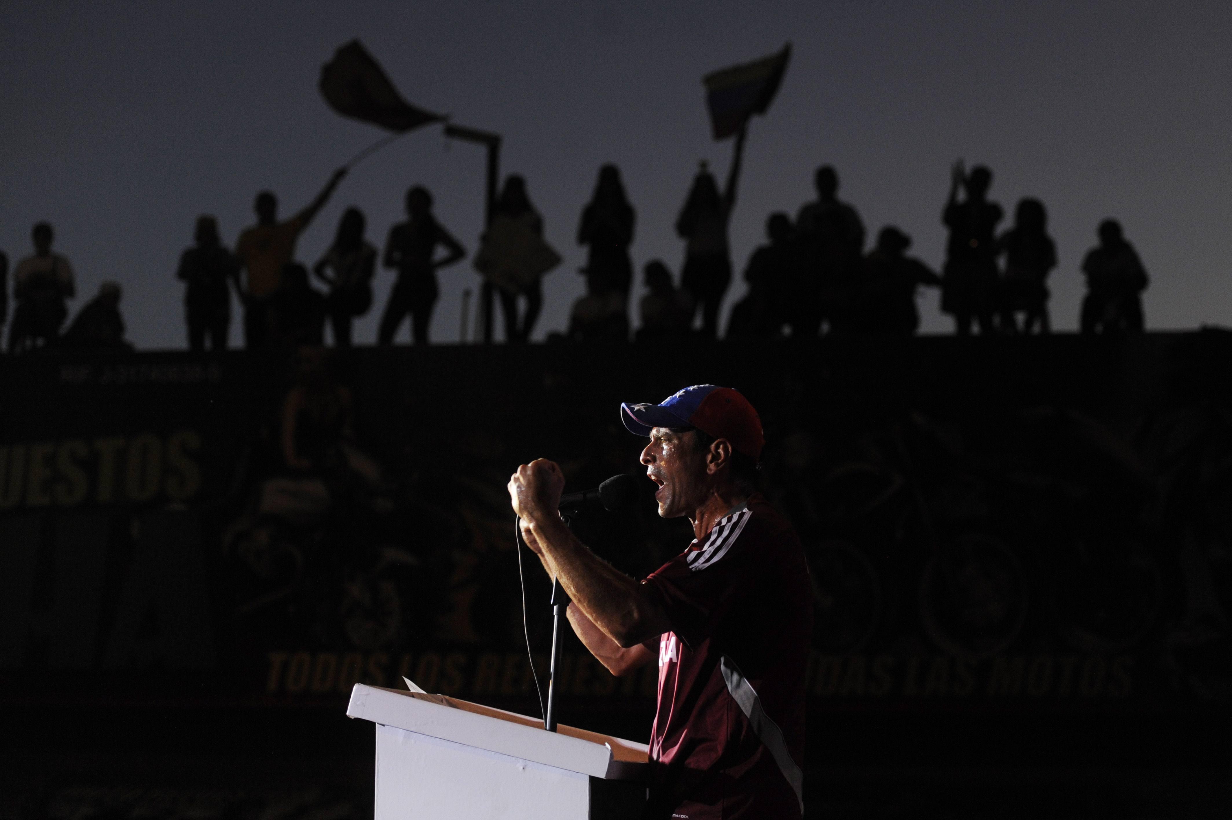 Venezuelan opposition presidential candidate Henrique Capriles Radonski delivers a speech in Maturin