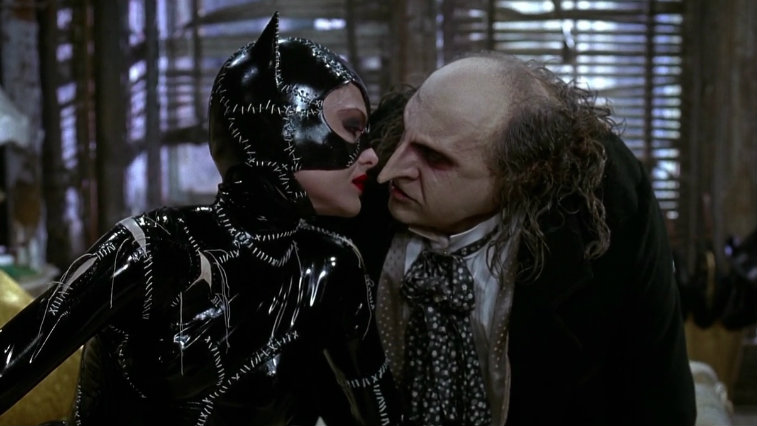 Michelle Pfeiffer and Danny DeVito in Batman Returns, origin stories