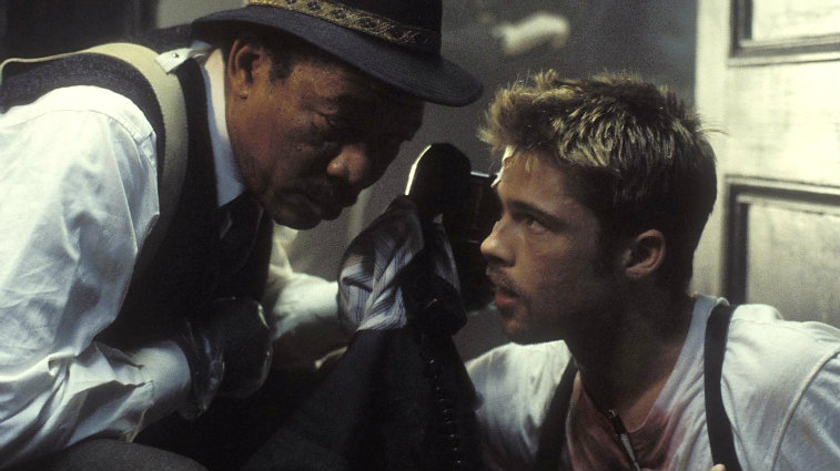 Morgan Freeman and Brad Pitt in Seven