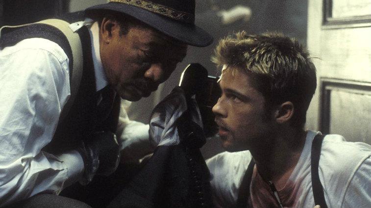 Morgan Freeman and Brad Pitt in Seven