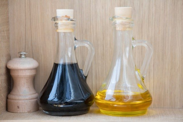 Oil and vinegar in bottles