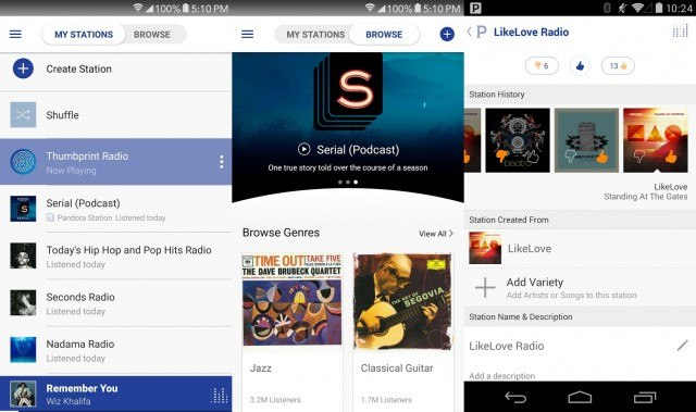 Pandora on Android - radio app