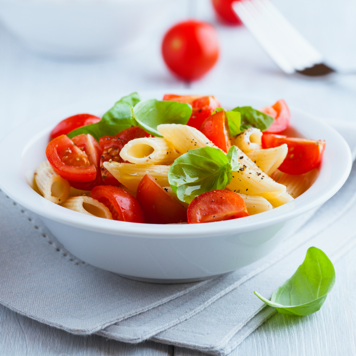 Make penne with pesto, tomatoes, and fresh mozzarella for your ...