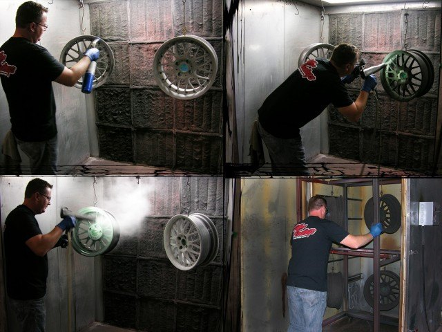 Blow torch removing lint, powder coat booth, and baking process