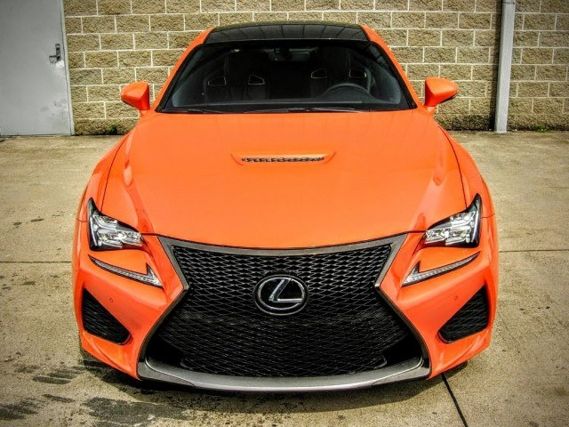 Molten Pearl orange paint makes the Lexus RC F all the more noticeable