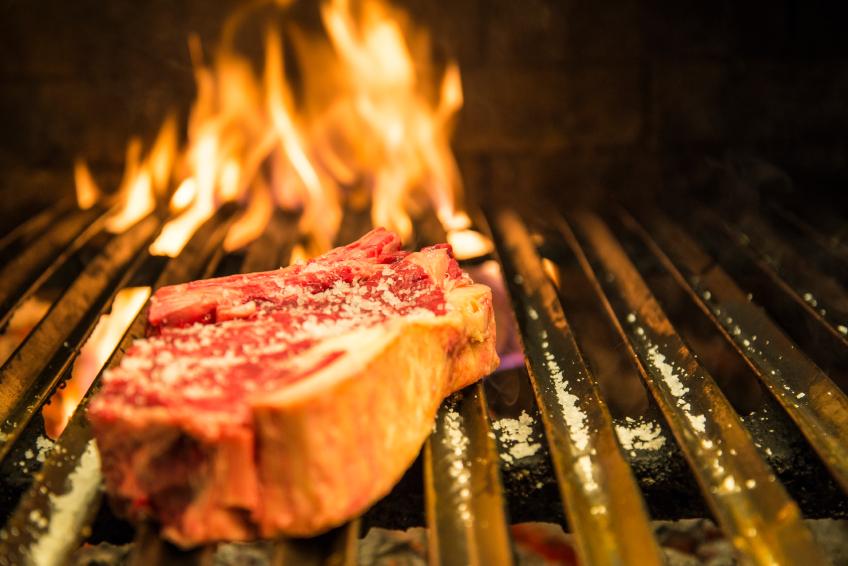 Ribeye steak on a grill