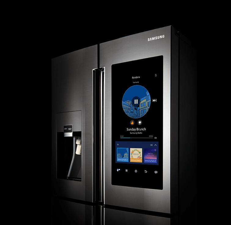 A smart refrigerator made by Samsung