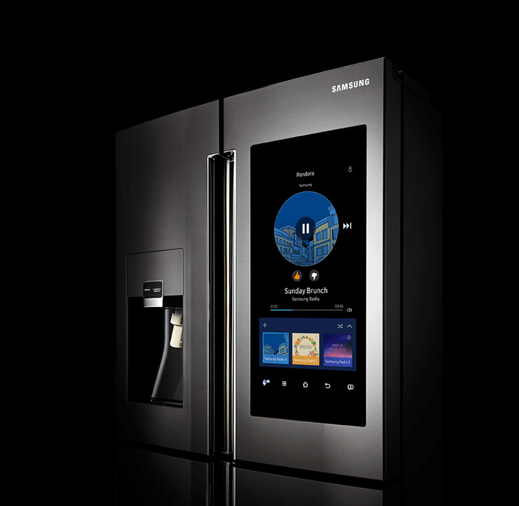 A smart refrigerator made by Samsung
