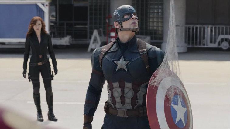 Scarlett Johansson and Chris Evans in Captain America Civil War