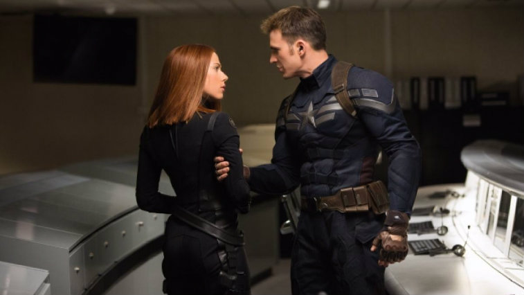 Scarlett Johansson and Chris Evans in Captain America The Winter Soldier