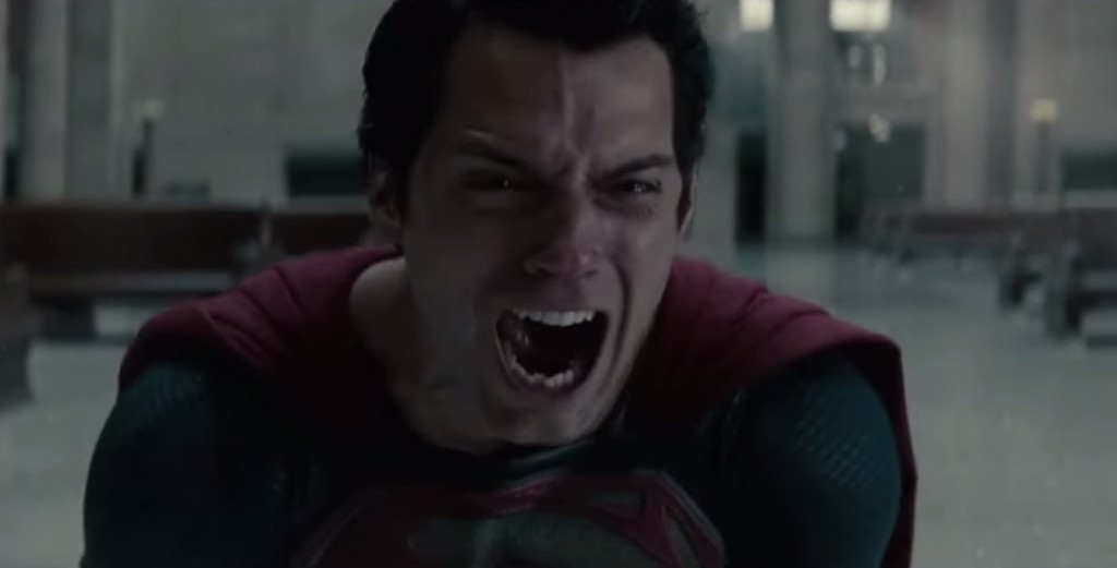 Superman at the end of Man of Steel screaming and crying