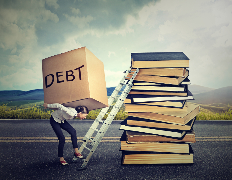 """woman carrying box labeled """"debt"""" up a ladder leaning against a stack of books"""