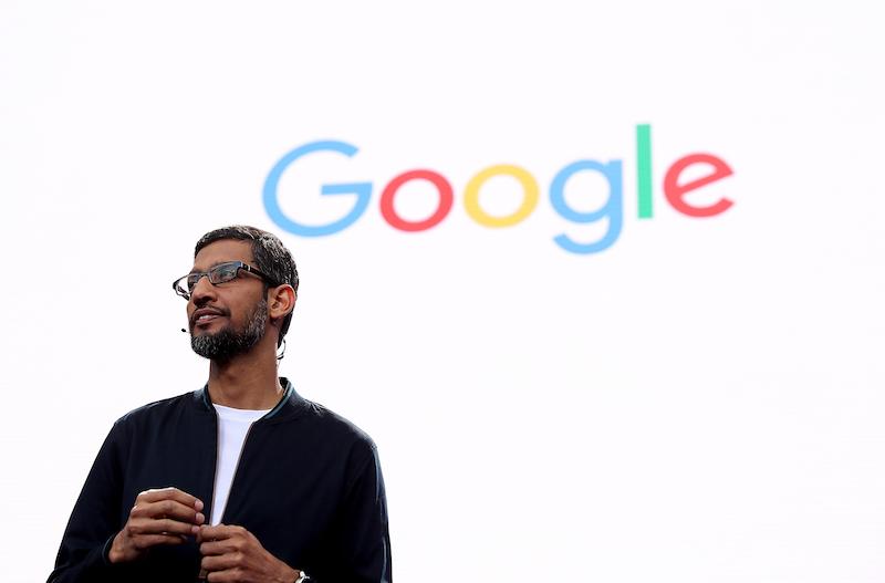 Google CEO Sundar Pichai speaks at a conference