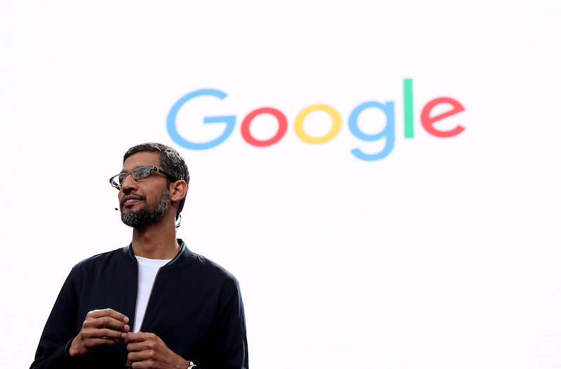Google CEO Sundar Pichai speaks at a conference