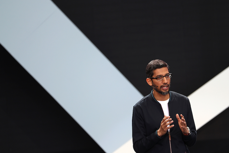 MOUNTAIN VIEW, CA - MAY 18: Google CEO Sundar Pichai speaks during Google I/O 2016 at Shoreline Amphitheatre on May 19, 2016 in Mountain View, California. The annual Google I/O conference is runs through May 20. (Photo by Justin Sullivan/Getty Images)