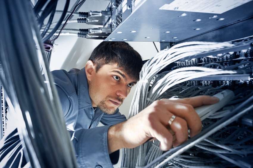Technician engineer checking wires