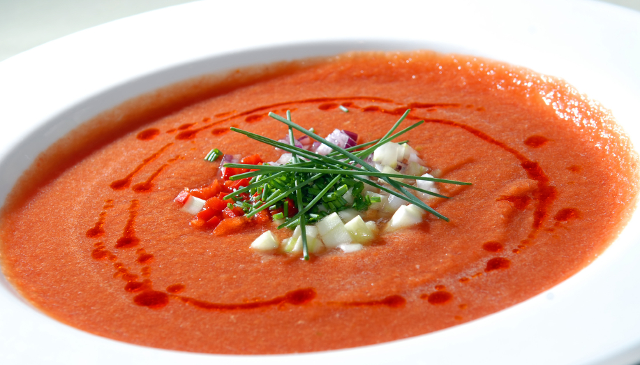 gochujang gazpacho in a white bowl
