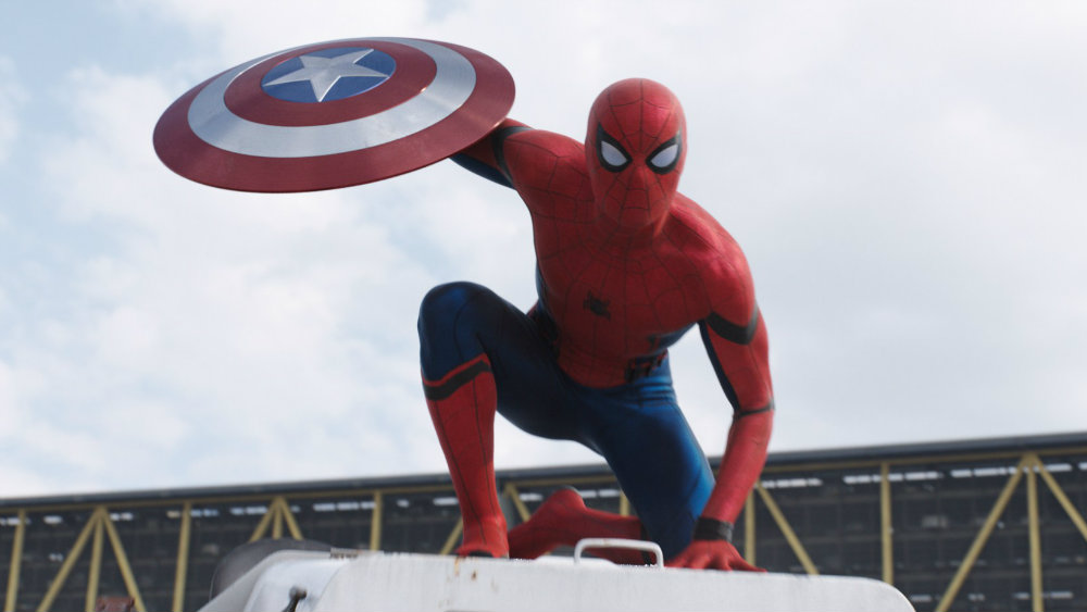 Spider-Man holding Captain America's shield
