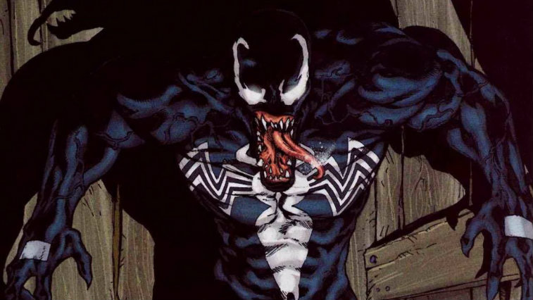 A menacing Venom bares his teeth in an issue of Marvel Comics