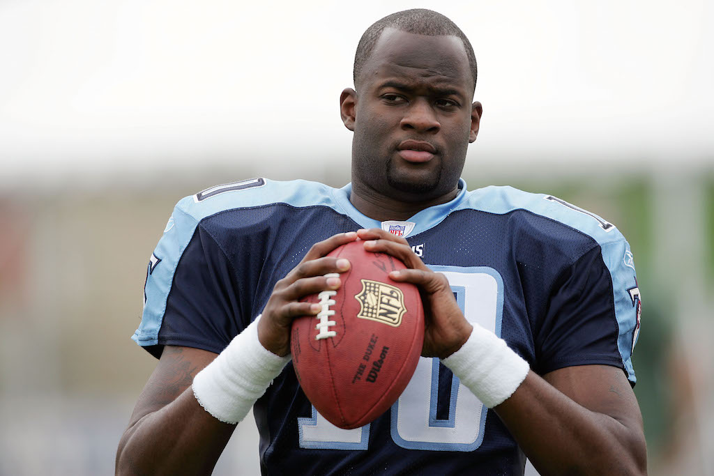 Quarterback Vince Young, the Tennessee Titans' first-round NFL draft pick, plays catch during a break in the action