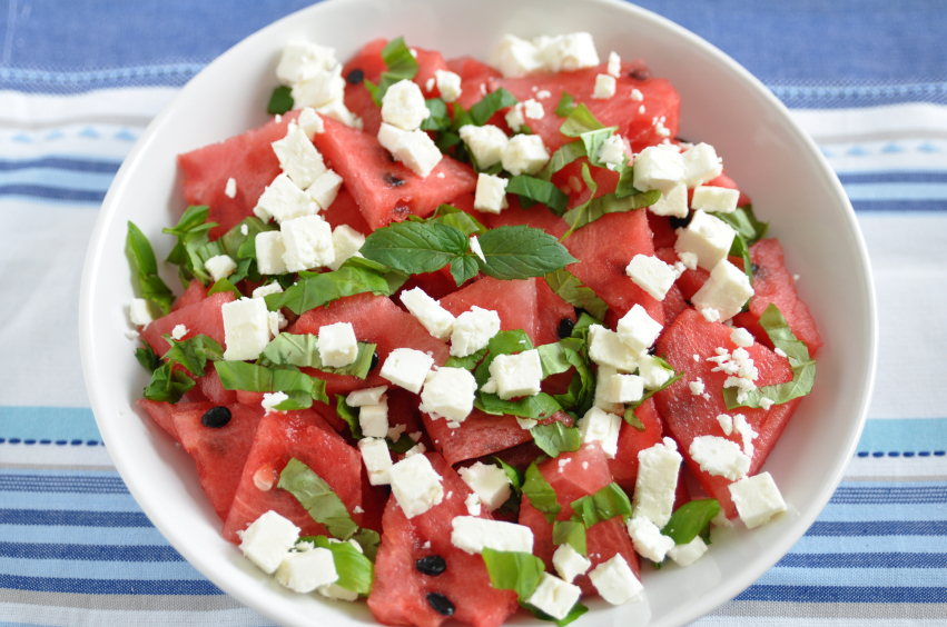 Tomato-Watermelon Salad With Feta And Toasted Almonds Recipe ...