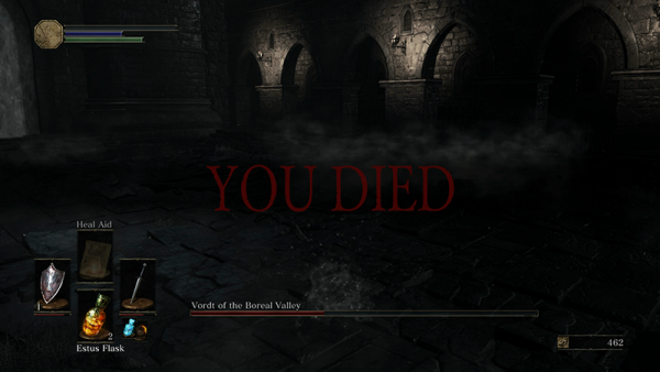 """The iconic """"You Died"""" screen from Dark Souls 3."""