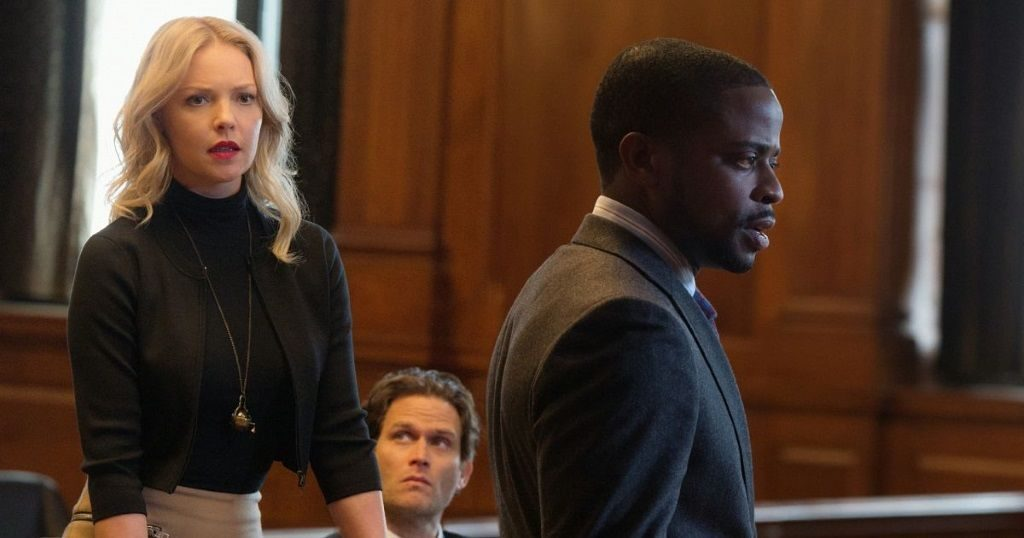 Katherine Heigl and Dulé Hill stand in a courtroom in CBS's Doubt
