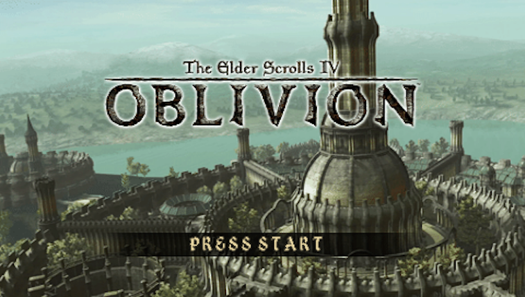 The title screen for the cancelled PSP game based on The Elder Scrolls IV: Oblivion.