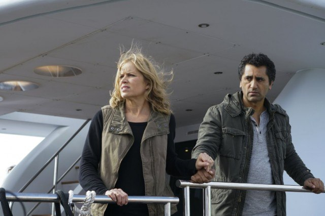 Madison (Kim Dickens) and Travis (Cliff Curtis) aboard the Abigail in 'Fear the Walking Dead'