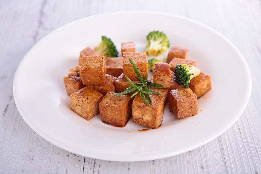 tofu bites on a white plate