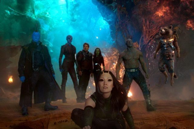 Characters from 'Guardians of the Galaxy Vol. 2' grouped together inside a cave.