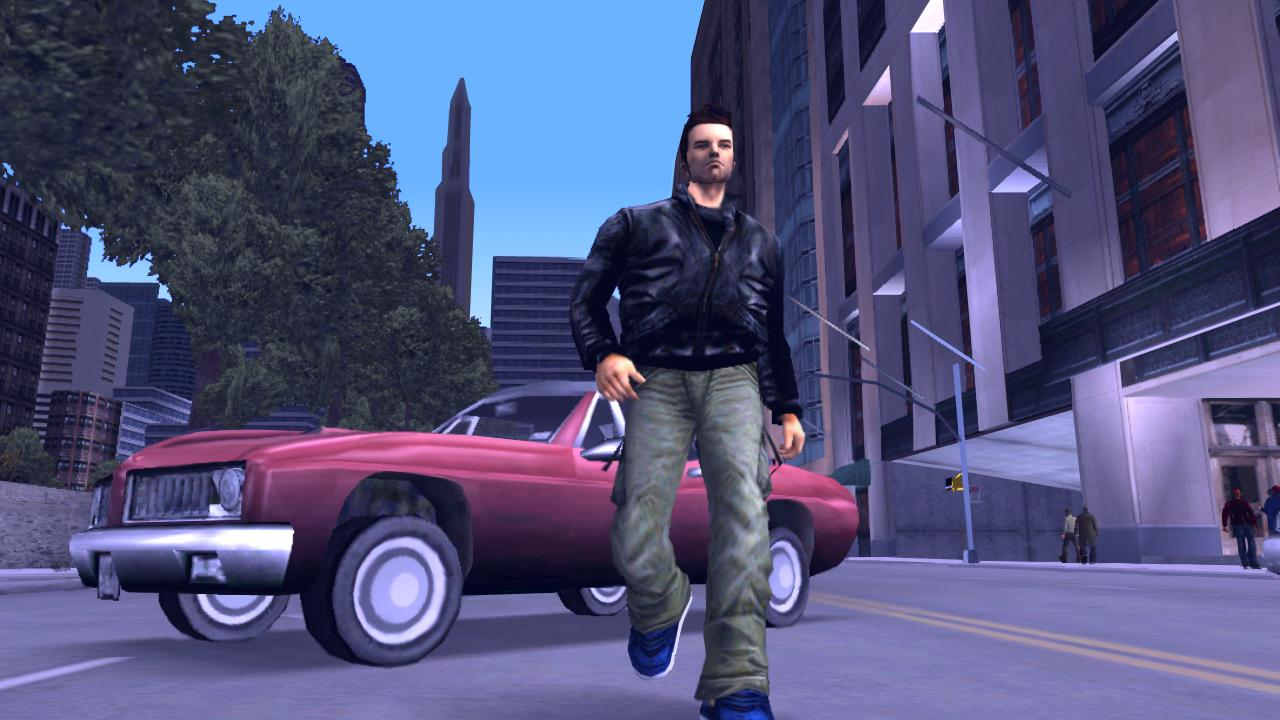 The antihero of Grand Theft Auto 3 walks away from his car in Liberty City.