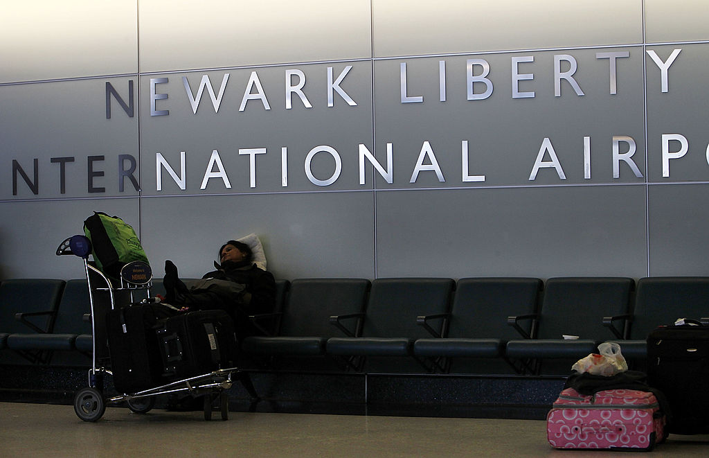 sign for newark airport, one of the worst airports for flight delays