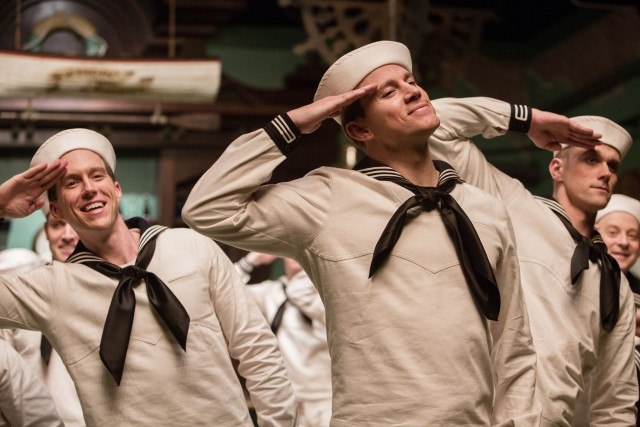 Burt Gurney (Channing Tatum) cheerfully dances his way through a sailor-themed song-and-dance number in a scene from the Coen Brothers' 'Hail, Caesar!' actors