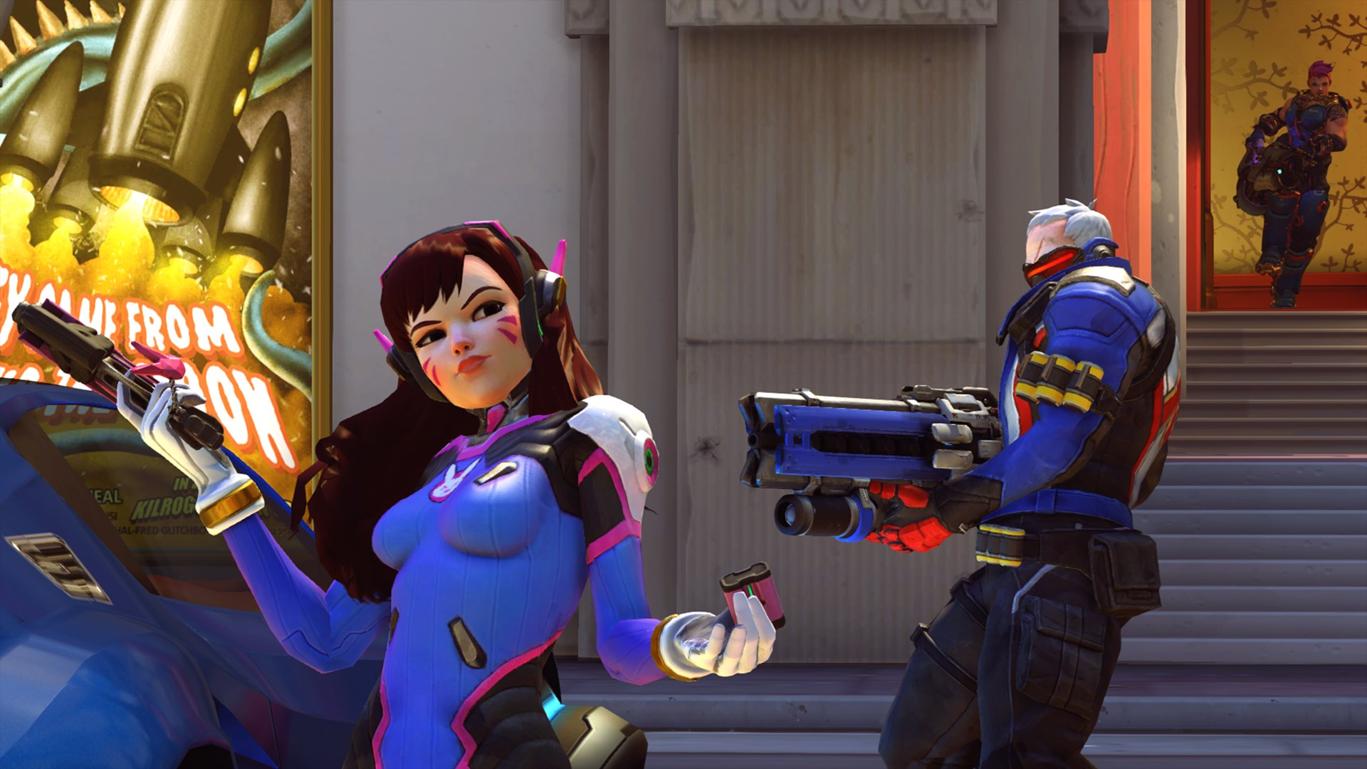 Soldier 76 aiming at D.Va in Overwatch