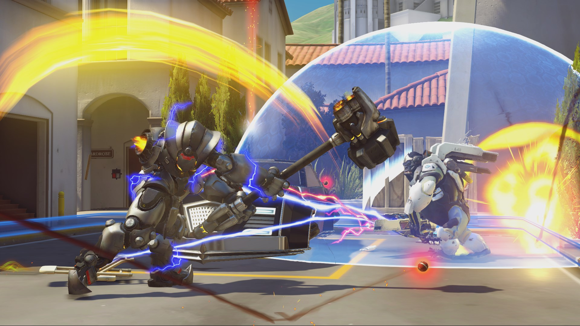 Reinhardt swings for Winston in Overwatch