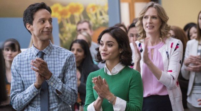 Danny Pudi, Vanessa Hudgens and other characters clapping their hand sin 'Powerless'.