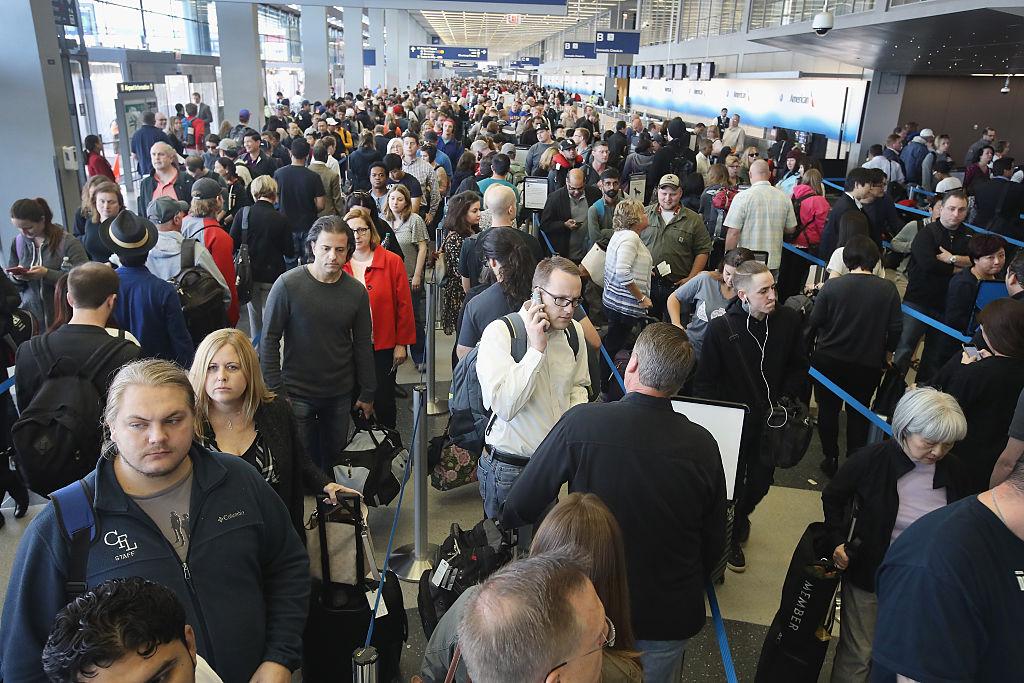 TSA security line at O'Hare