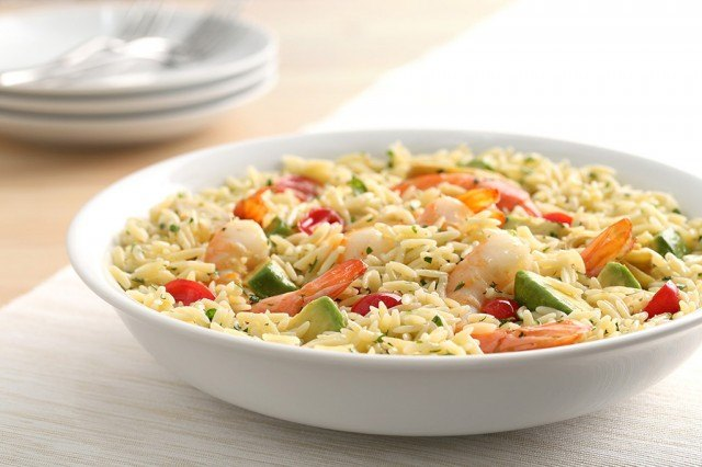 orzo pasta salad with shrimp, avocado, and goat cheese