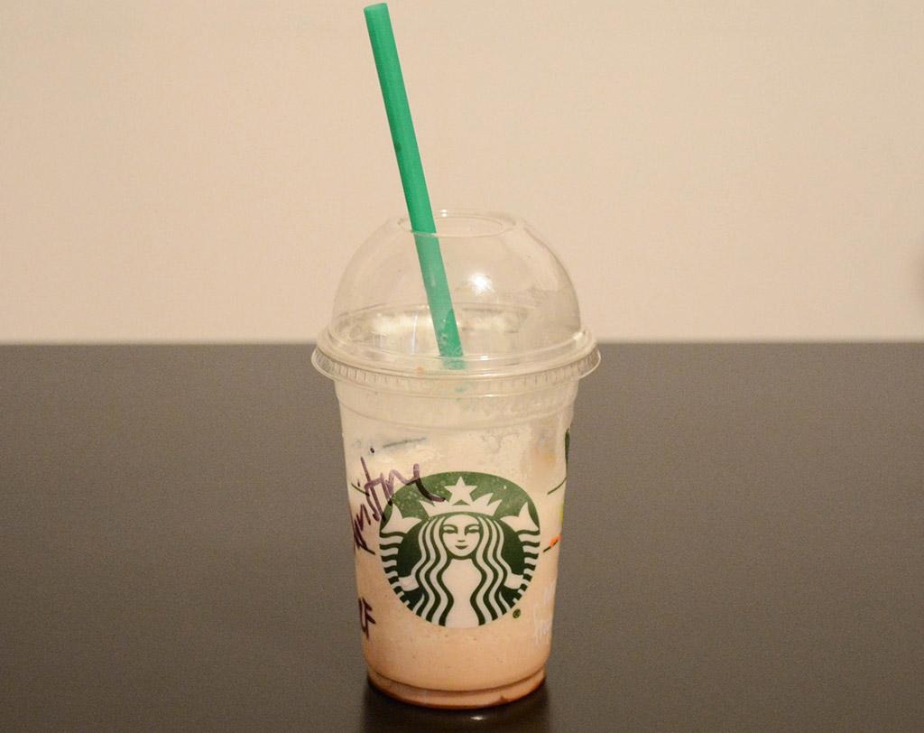 a partially finished Starbucks mini s'mores frappuccino